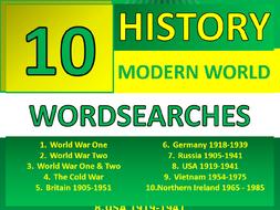 10 History Modern World Wordsearch Starter Activities KS3 GCSE Cover Homework Plenary Settler
