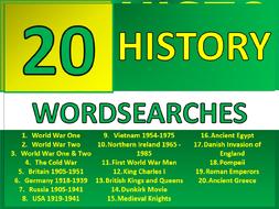 20 History Wordsearch Starter Activities KS3 GCSE Cover Homework Plenary Settler Wordsearches