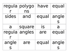 Angle Facts Card Sort