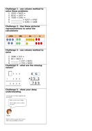 Y4 worksheet  column addition - challenge strip