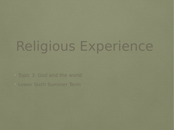 God and the world: Religious Experience