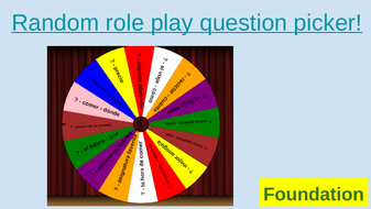 AQA GCSE Spanish Year 10 11 SPEAKING REVISION - random role play question  picker - foundation higher