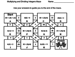 Multiplying and Dividing Integers Activity: Math Maze by