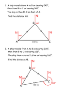 Trig Formulae: Bearings Problems