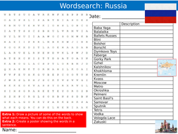 Russia Wordsearch Puzzle Sheet Keywords Settler Starter Cover Lesson Country Geography