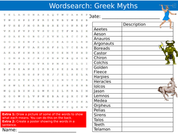 Greek Mythology 1&2 Wordsearches Puzzle Sheet Keywords Settler Starter Cover Lesson History