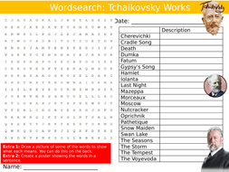 Tchaikovsky Works Wordsearch Puzzle Sheet Keywords Settler Starter Cover Lesson Music Composers