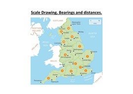 Bearings and distances. With Answers. Scale Drawing. England.
