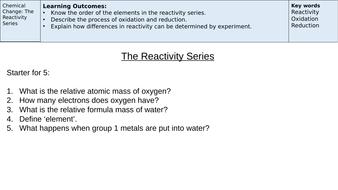 The Reactivity Series - AQA 9-1 GCSE