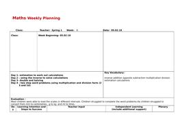 Maths weekly plan target ITF framework year 2