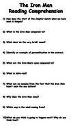 The Iron Man Chapter One Reading Comprehension by