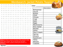 Jacket Potato Toppings Wordsearch Puzzle Sheet Keywords Settler Starter Cover Lesson Food Technology