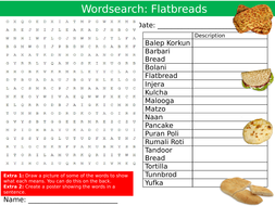 Flatbreads Wordsearch Puzzle Sheet Keywords Settler Starter Cover Lesson Food Technology Bread