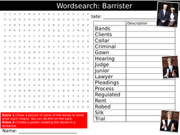 Barrister Wordsearch Puzzle Sheet Keywords Settler Starter Cover Lesson Careers Legal Law Jobs