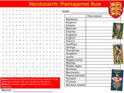 Plantagenet Rule Wordsearch Puzzle Sheet Keywords Settler Starter Cover Lesson History