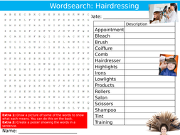 Hairdressing Wordsearch Puzzle Sheet Keywords Settler Starter Cover Lesson Composer Beauty Careers