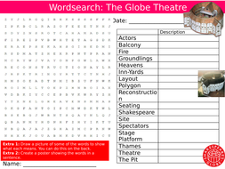 The Globe Theatre Wordsearch Puzzle Sheet Keywords Settler Starter Cover Lesson Shakespeare