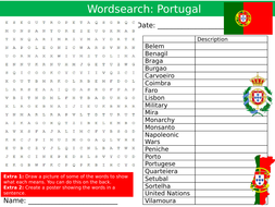 Portugal Wordsearch Puzzle Sheet Keywords Settler Starter Cover Lesson Country Geography