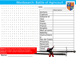 The Battle of Agincourt Wordsearch Puzzle Sheet Keywords Settler Starter Cover Lesson History
