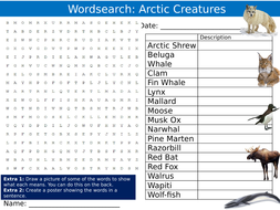 Arctic Creatures Wordsearch Puzzle Sheet Keywords Settler Starter Cover Lesson Animals Nature