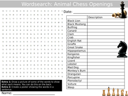 Chess Animal Openings Wordsearch Puzzle Sheet Keywords Settler Starter Cover Lesson Games Strategy