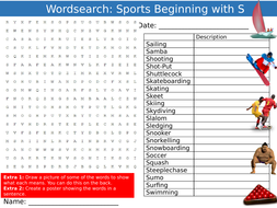 Sports Beginning with S Wordsearch Puzzle Sheet Keywords Settler Starter Cover Lesson PE