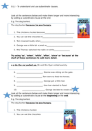 Subordinating conjunctions - differentiated worksheets ('A Long Way Home' context)