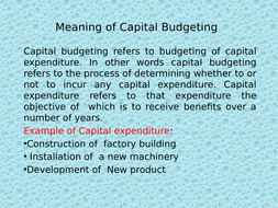 Introduction to Capital Budgeting
