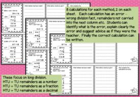 Error Analysis / Spot the Mistake Task Cards for Written Division Methods  Yr 5 & 6