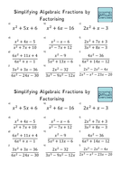 Increasingly Difficult Questions - Simplifying Algebraic Fractions