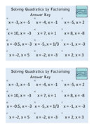 Increasingly Difficult Questions - Solving Quadratics by Factorising