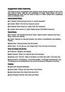 Edexcel GCSE Music 9-1 Suggested Wider Listening list. Listening list for Revision.