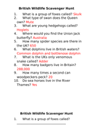 Online British Wildlife Scavenger Hunt