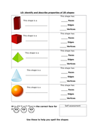 Identify and describe properties of 3D shapes
