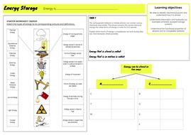 GCSE 1-9 Design & Technology - Unit 2 - Energy storage worksheet by ...