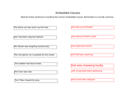 Embedded clauses Presentation and 3 worksheets by catmac01 ...