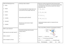KS3 Separating mixtures revision mat