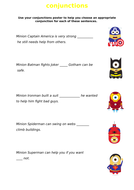 Superhero Minion Conjunction Worksheet