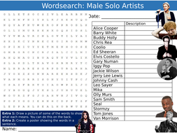 Male Solo Artists Wordsearch Puzzle Sheet Keywords Settler Starter Cover Lesson Music Musicians