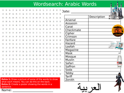 Arabic Words Wordsearch Puzzle Sheet Keywords Settler Starter Cover Lesson English Origin
