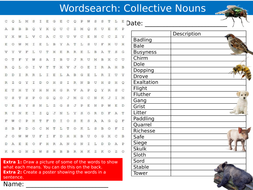 Collective Animal Nouns #2 Wordsearch Puzzle Sheet Keywords Settler Starter Cover Lesson English