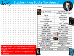 Stephen King Books Wordsearch Puzzle Sheet Keywords Settler Starter Cover Lesson English Author