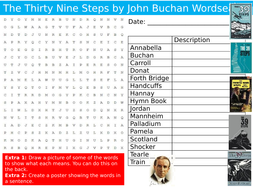 The Thirty Nine Steps Novel Wordsearch Puzzle Sheet Keywords Settler Starter Cover Lesson English