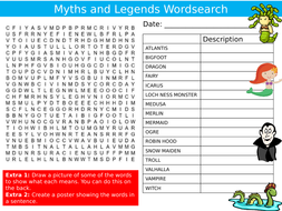 Myths and Legends Wordsearch Puzzle Sheet Keywords Settler Starter Cover Lesson Mythical Creatures
