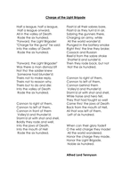 The Charge Of The Light Brigade Alfred Lord Tennyson Double Lesson