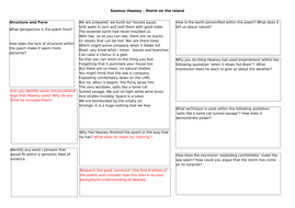 A3 Analysis Worksheet - 'Storm on the Island' Seamus Heaney