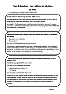 Paper 2 Questions – Henry VIII and his Ministers