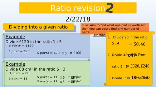 Dividing into a given ratio GCSE revision
