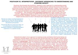 AQA Positivism and Interpretivism