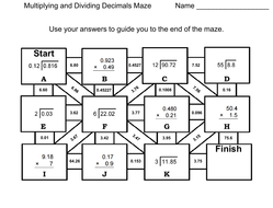Multiplying and Dividing Decimals: Math Maze by